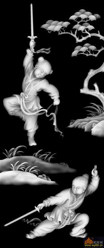 童子 练剑 松树-玉石灰度图
