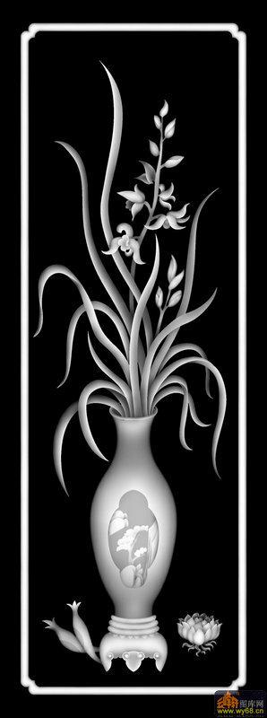 兰花 花瓶-浮雕图案