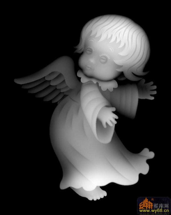 卡通像 天使-欧式洋花浮雕灰度图