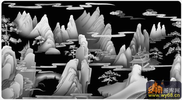 山水浮雕树-房屋图纸图案男包拿手图片