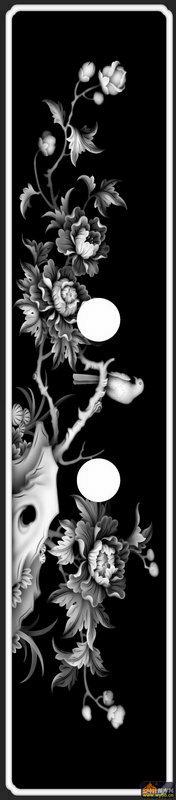 牡丹花 鸟-灰度图电脑雕刻图
