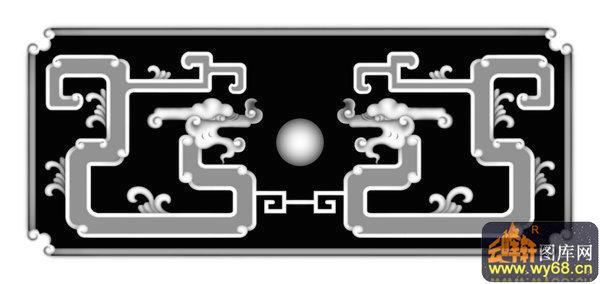 龙头 花纹-灰度雕刻图