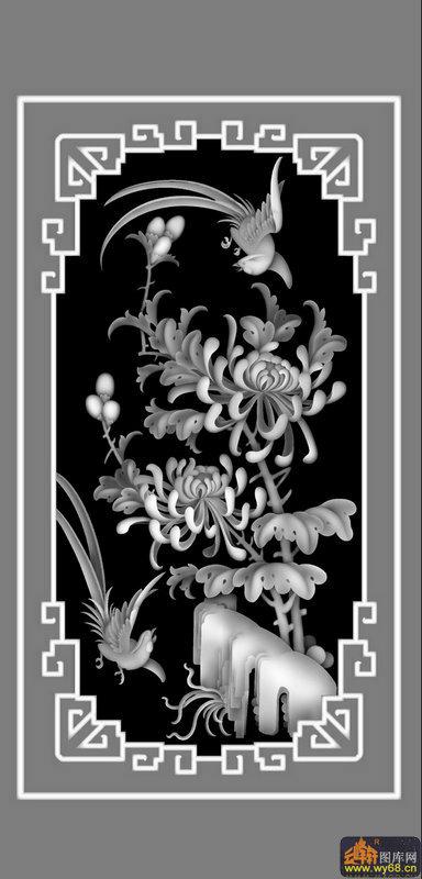 鸟-欧式洋花浮雕灰度图
