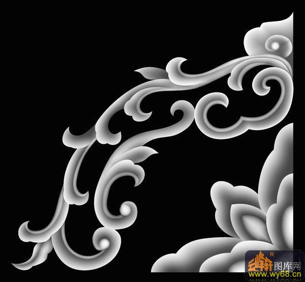 龙纹 花 花纹 花钩-浮雕图案