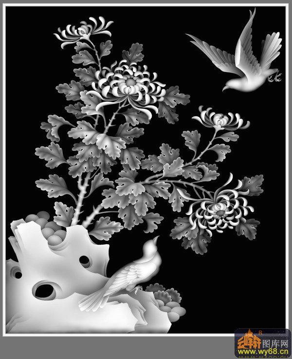 凤凰 花纹边 圆-木雕灰度图