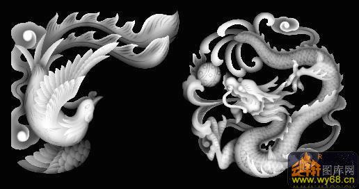 蝙蝠-欧式洋花浮雕灰度图