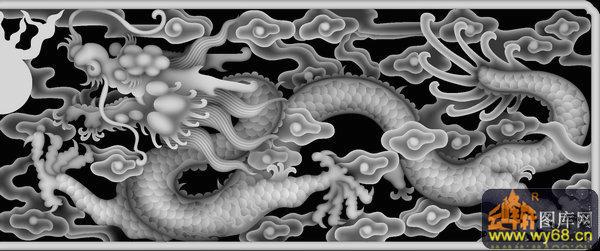 祥云-欧式洋花浮雕灰度图