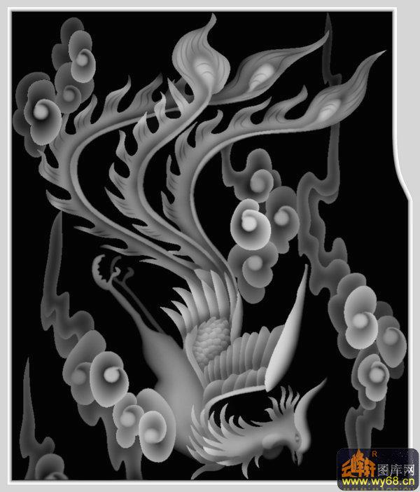 凤凰 祥云-灰度雕刻图