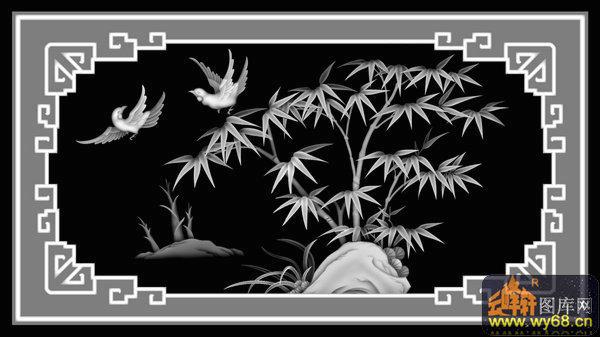 竹子 鸟-木雕灰度图