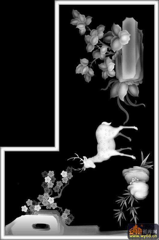 仙鹤 松树-灰度图
