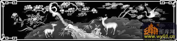 梅花 鹿 仙鹤 松树-灰度图