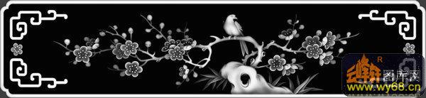 梅花 鸟-灰度图库素材-灰度图,bmp图,浮雕图,云峰轩