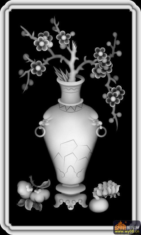 梅花 花瓶-欧式洋花浮雕灰度图