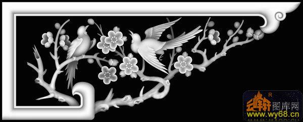 梅花 鸟-灰度图库素材