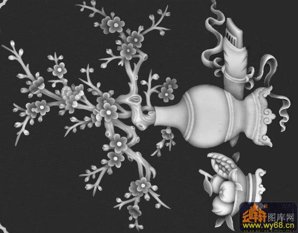梅花 花瓶-木雕灰度图