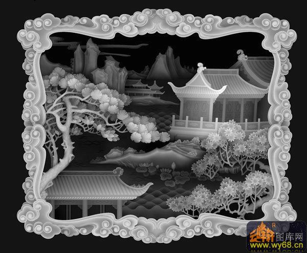 木雕 山水 树 房屋-石雕灰度图