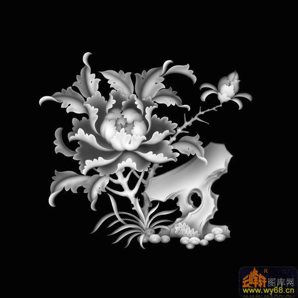 牡丹花 鸟-木雕灰度图-灰度图,bmp图,浮雕图,云峰轩
