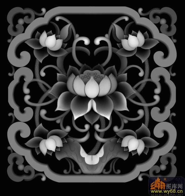 荷花 花纹-木雕灰度图