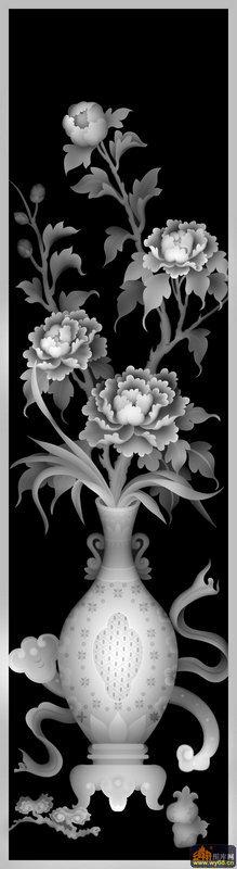 牡丹花 花瓶 如意-浮雕图案