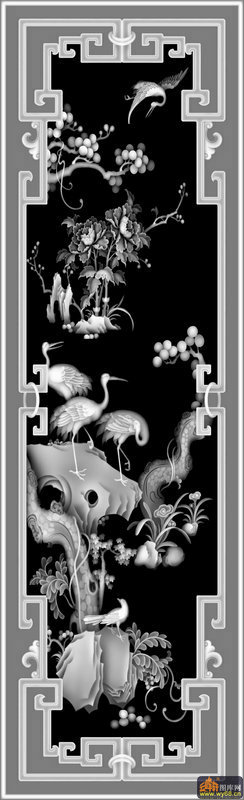 松树 仙鹤-灰度图库素材