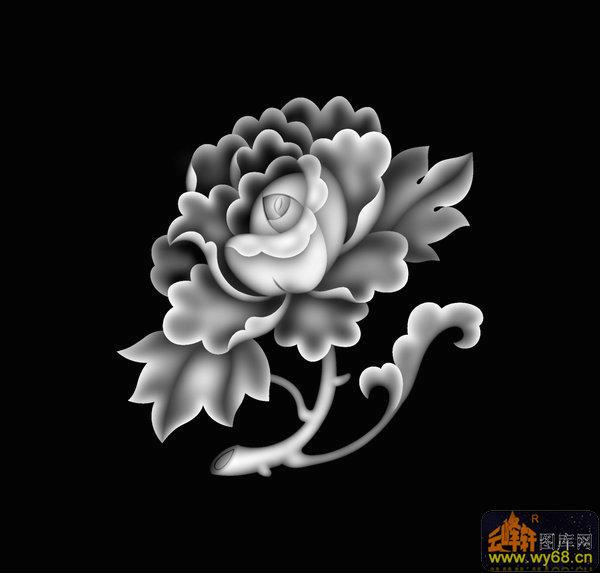 牡丹花-灰度图电脑雕刻图