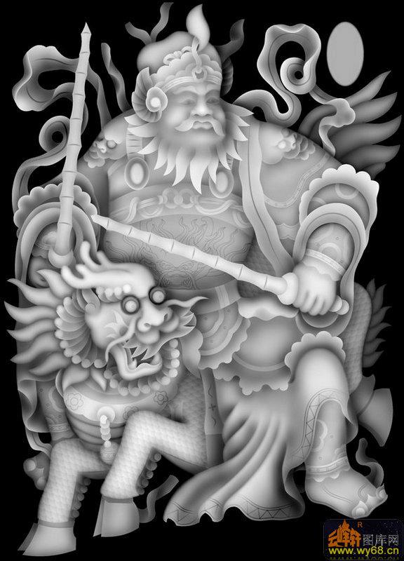 人物 门神 麒麟-电脑雕刻图