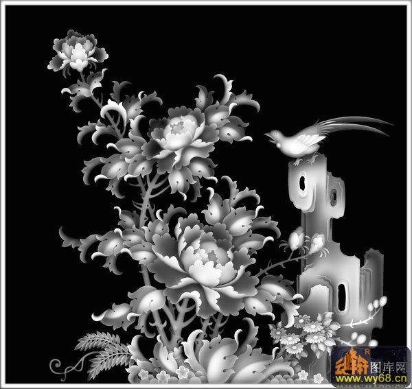 牡丹花 鸟-浮雕图案