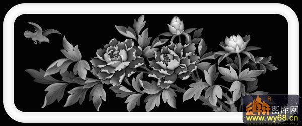 牡丹花 花瓶 扇子-灰度图-灰度图,bmp图,浮雕图,云峰
