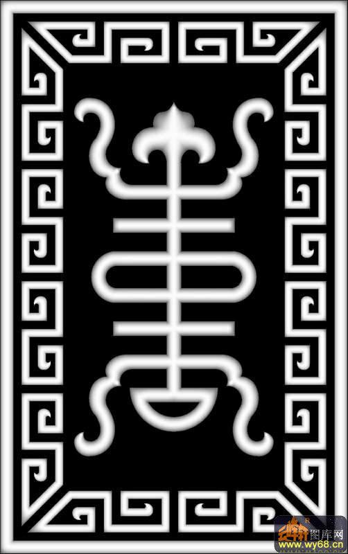 回纹边-欧式洋花浮雕灰度图