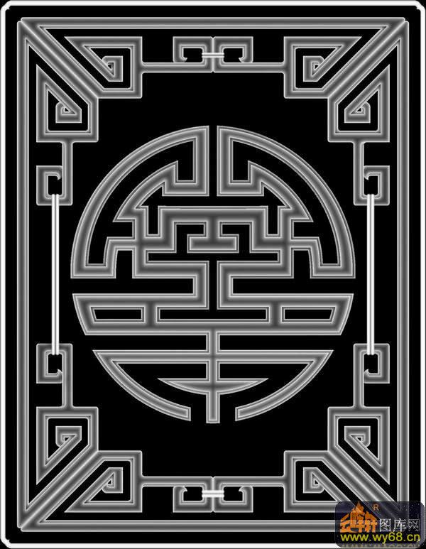 回形纹图案_寿字纹 圆 回纹边-灰度图电脑雕刻图-灰度图,bmp图,浮雕图,云峰轩 ...