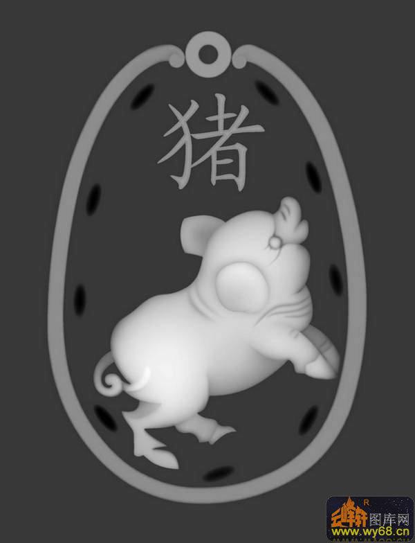 生肖 猪-灰度图电脑雕刻图