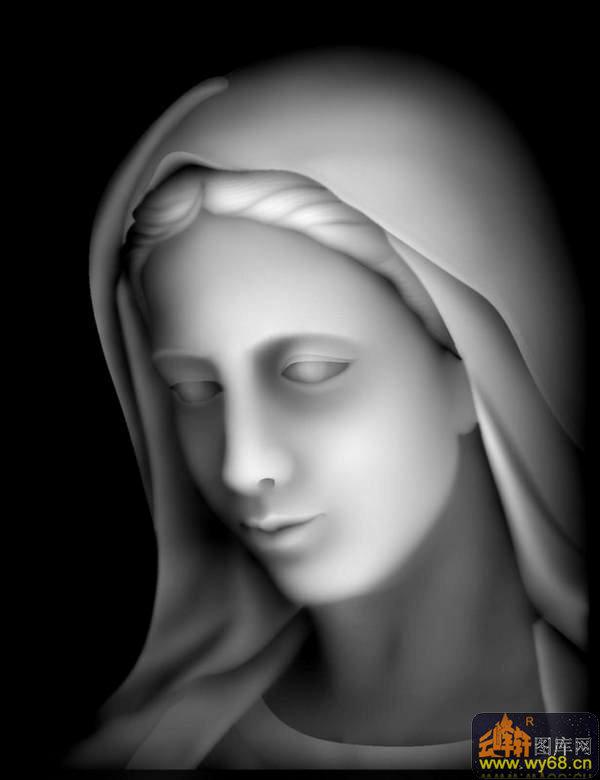 人物头像 圣母-浮雕灰度图
