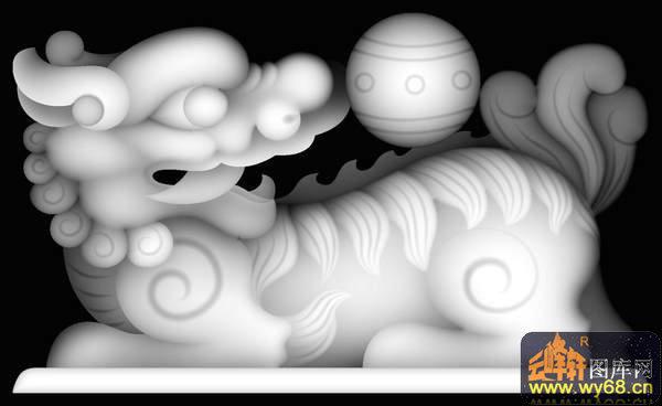 狮子-欧式洋花浮雕灰度图