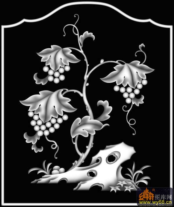 提子-欧式洋花浮雕灰度图