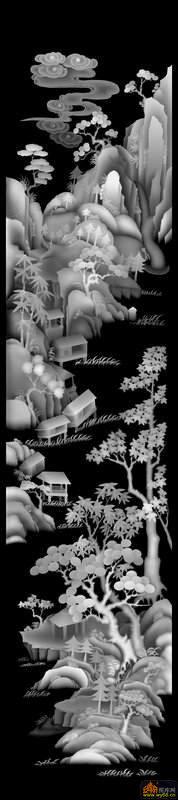 山水 树 房屋-木雕灰度图