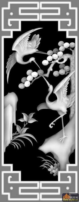 松树 仙鹤-灰度浮雕