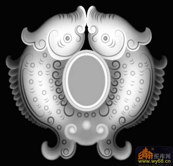 凤凰 云 花纹-灰度雕刻图