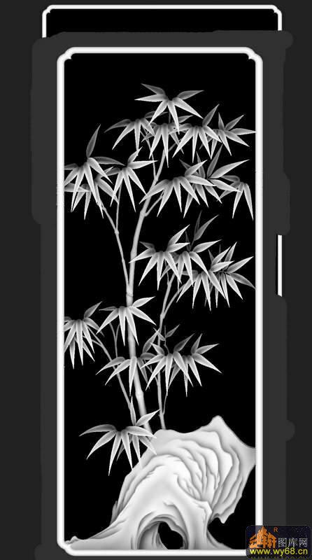 竹子-木雕灰度图 - 云峰轩雕刻图库网