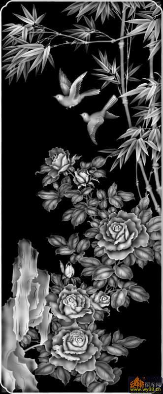 牡丹花 竹子 鸟-玉石灰度图