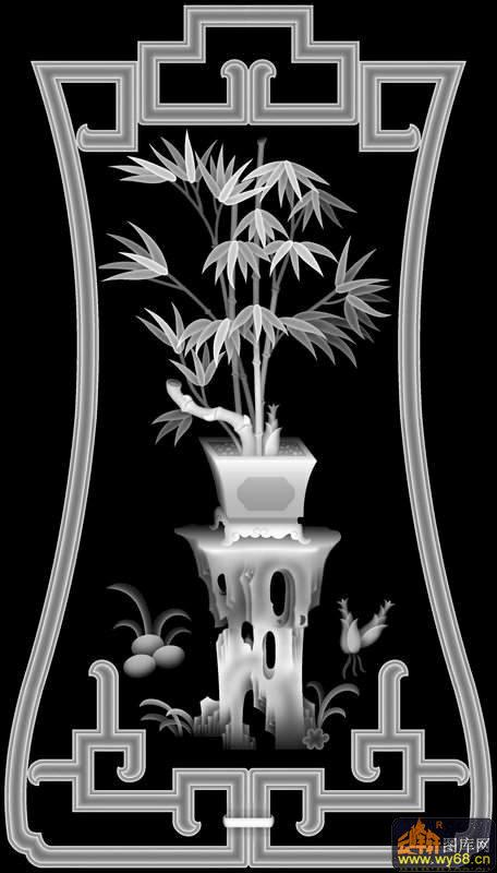 花盆-欧式洋花浮雕灰度图