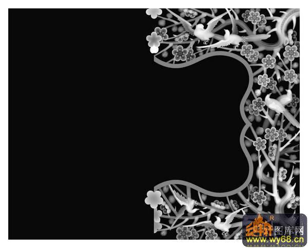 梅花 鸟-浮雕图案