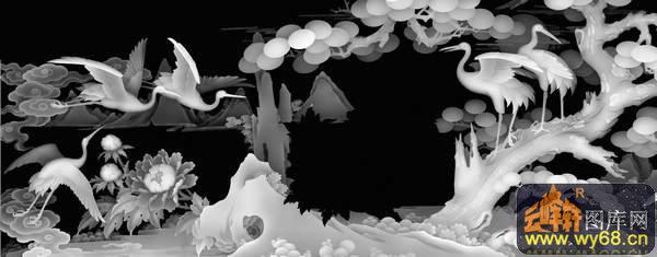 松树 仙鹤 花-浮雕图案