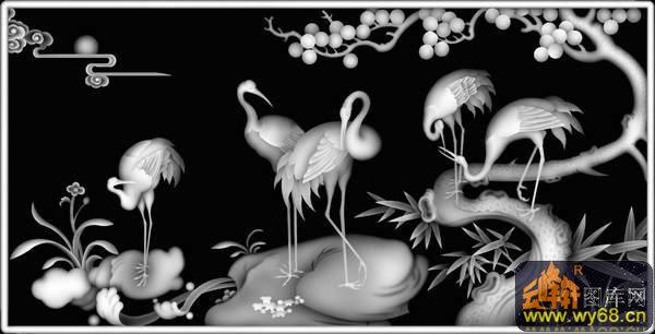 松树仙鹤背景动物 鸟类 仙鹤松树背景