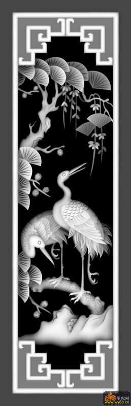 松树 仙鹤-灰度图电脑雕刻图