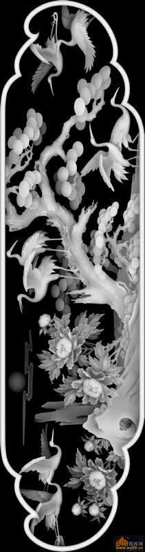 松树 仙鹤 花-电脑雕刻图