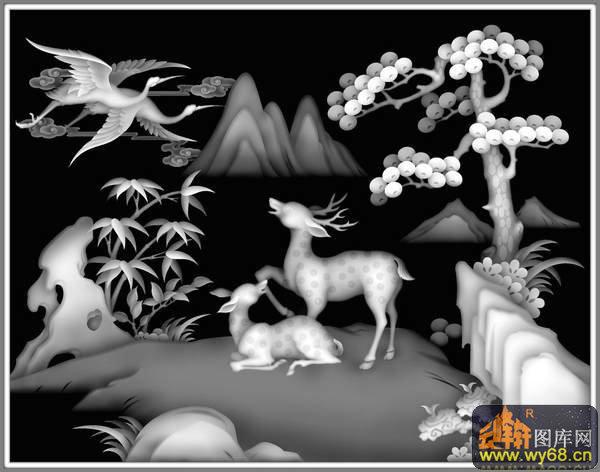 山水 松树 仙鹤 鹿 竹子-木雕灰度图 - 云峰轩雕刻