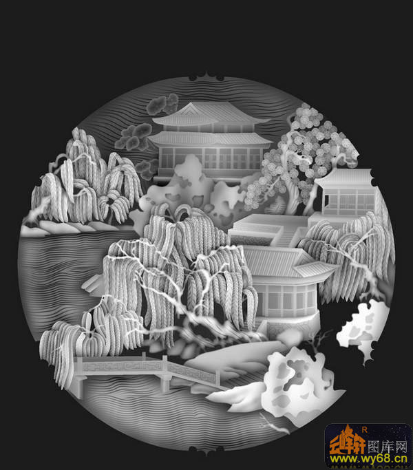 圆形山水雕刻图案