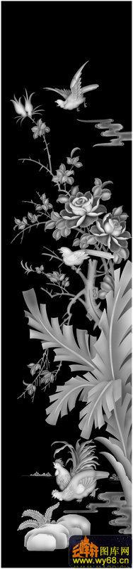 博古龙顶箱柜月季花鸟-精雕灰度图