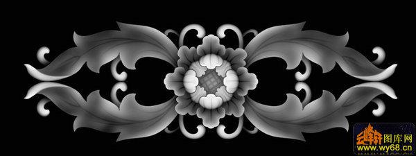 四叶花床头-浮雕灰度图