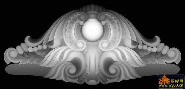 麒麟洋花 罗汉床侧牙板-电脑雕刻图-灰度图